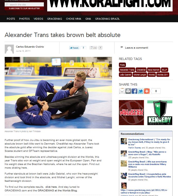 Alexander Trans vinder brunbælte VM 2011
