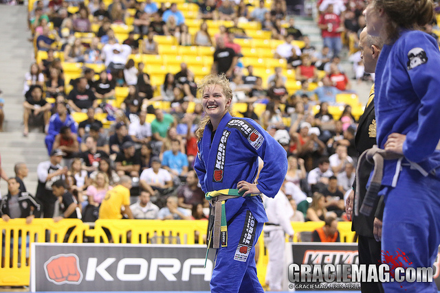 Janni after winning the final of the brown belt female absolute at the 2013 World Championship. Photo: Erin Herle