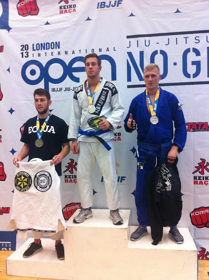 Nicolai Kirk på podiet til London Open BJJ 2013